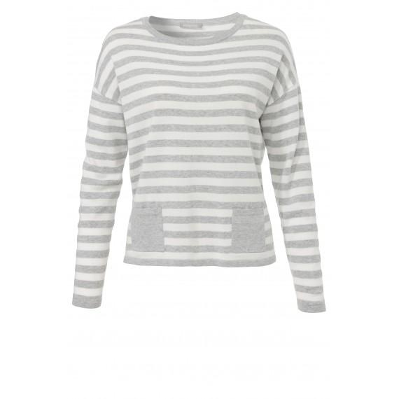 Ringel-Pullover mit Taschen /