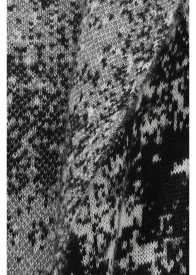 Lange Strickjacke mit Jacquard-Muster /
