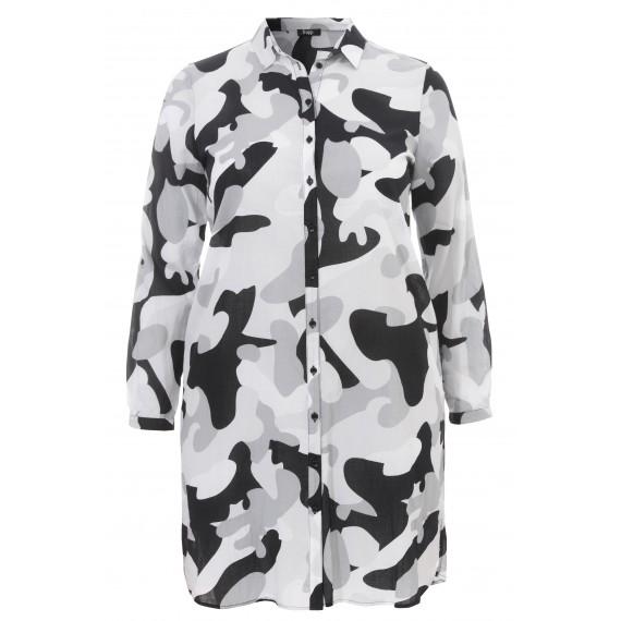 Luftiges Blusen-Kleid mit Camouflage-Muster /