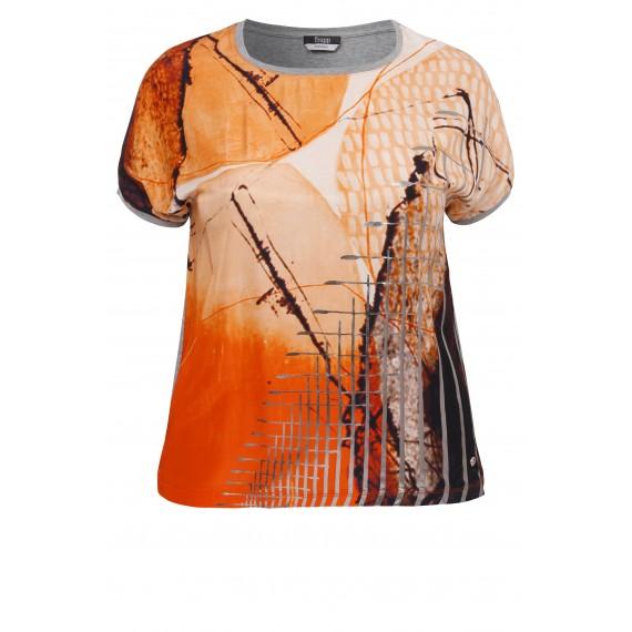 Modisches T-Shirt im Materialmix /