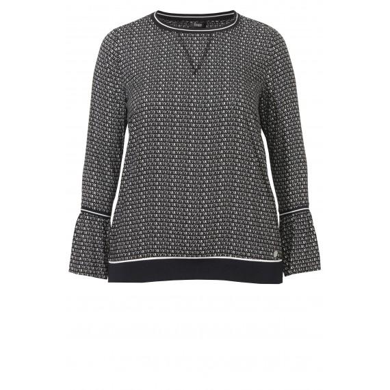 Feminines Blusen-Shirt mit Muster und Volants /