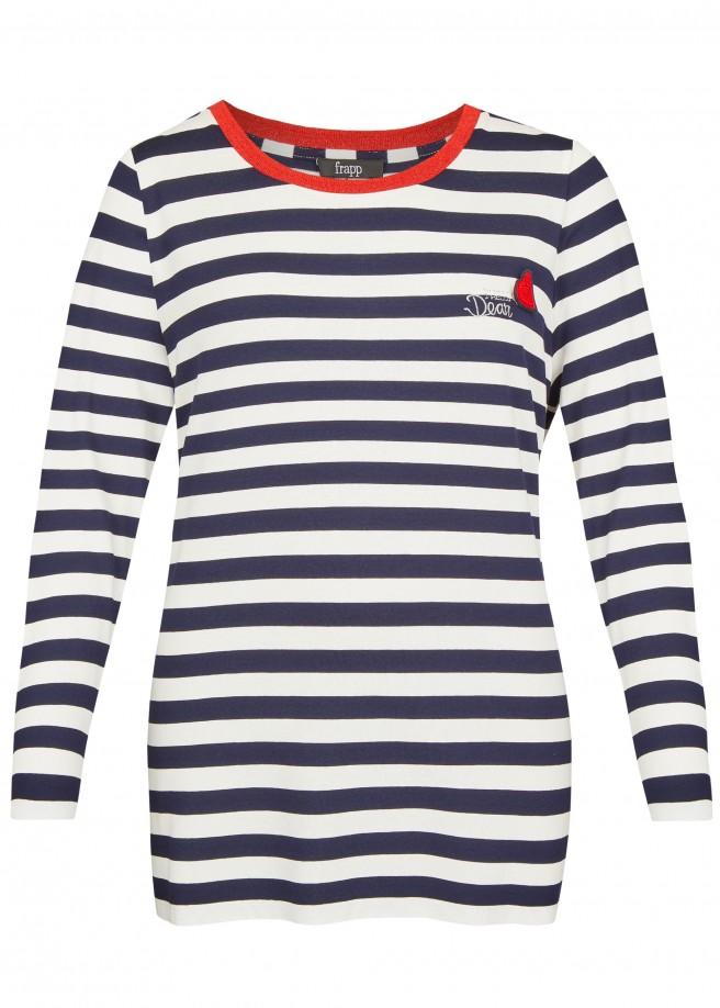 Modernes Ringel-Shirt mit Kontrastkragen /
