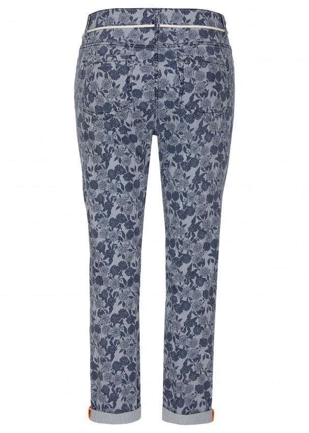 22efd20496a6dd Modische Slim-Hose mit Allover-Muster navy multicolor Frontansicht navy  multicolor Rückansicht