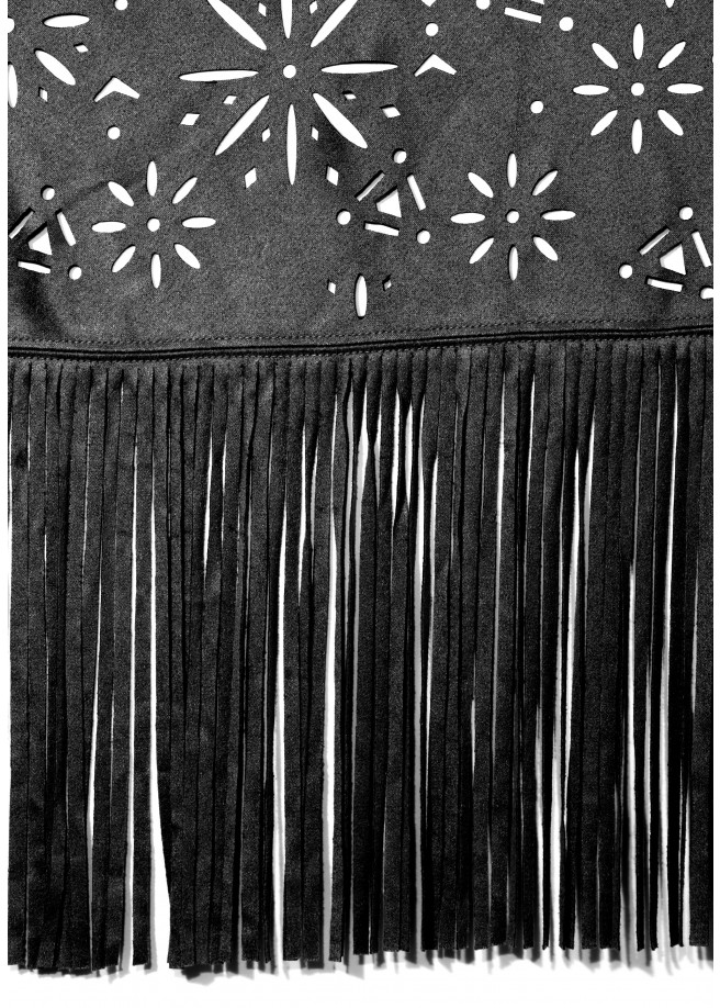 Poncho / Cape in Wildleder-Optik mit floralem Lochmuster /