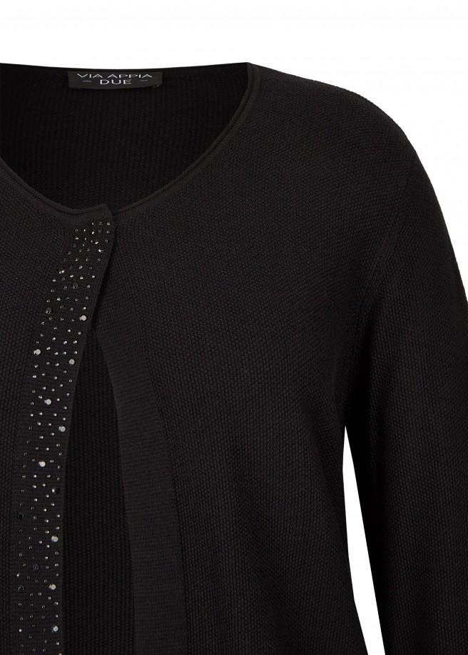 Elegante Strick-Jacke mit Ziersteinchen /