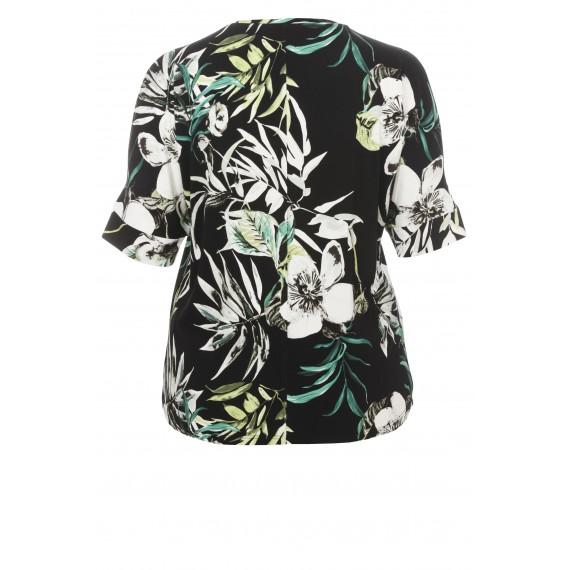 Florales T-Shirt mit geschlitzten Ärmeln /