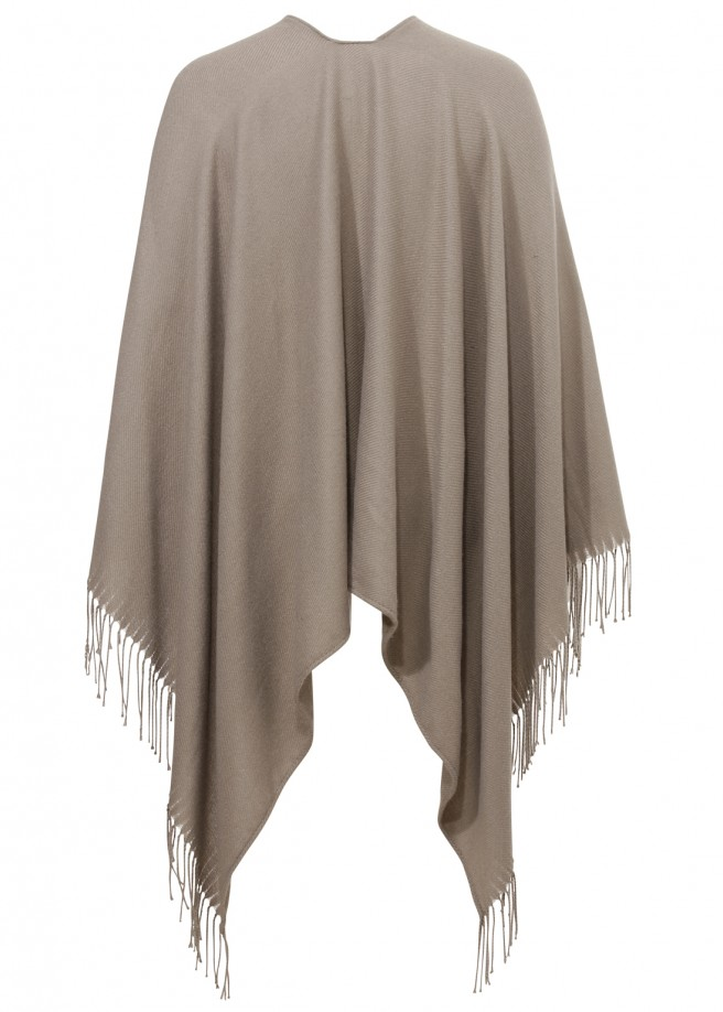 Trendy Fransen Cape in Taupe /