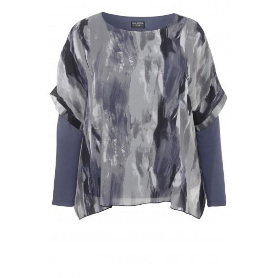 2-in-1 Jerseyshirt mit Chiffon-Tunika /