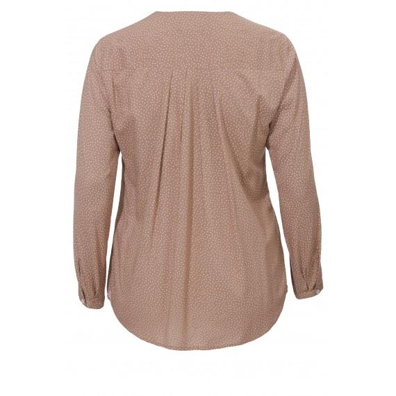 Langärmlige V-Bluse mit Punktemuster /