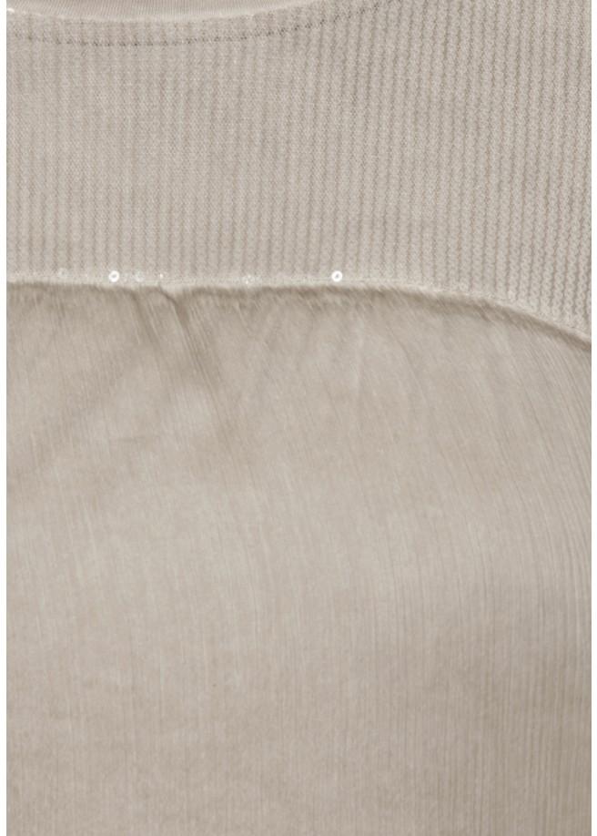 Blusenshirt mit aufgenähtem Pailletten-Tüllnetz /