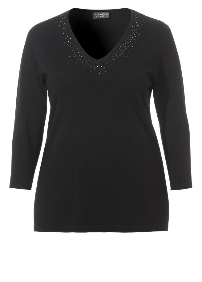 Eleganter Pullover mit Ziersteinchen /
