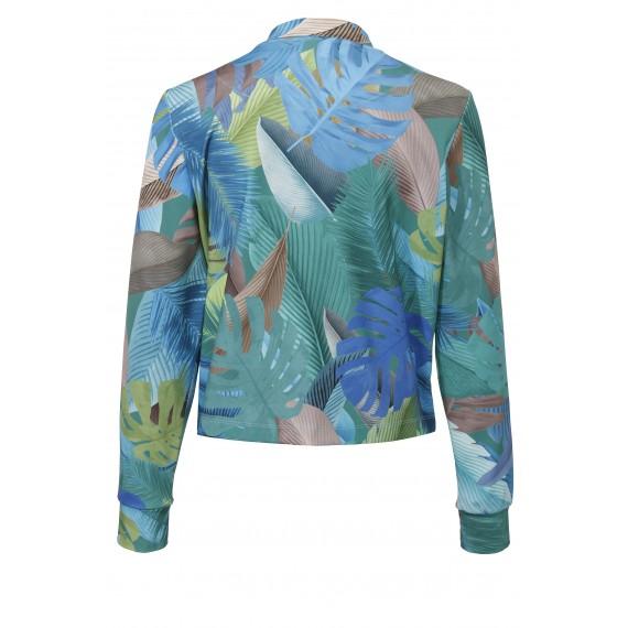 Seidige Jacke mit Dschungelmotiv /