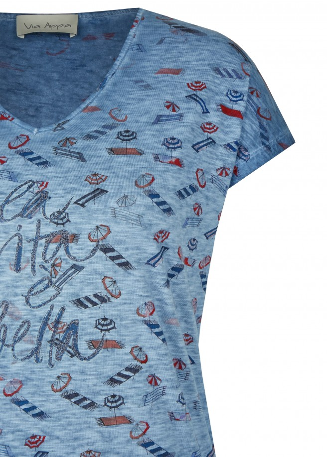 Maritimes Shirt mit Printmuster /