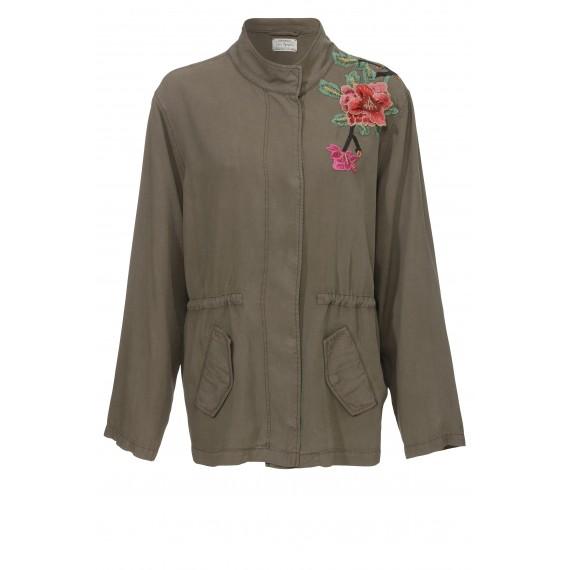 Leichte Trend-Jacke mit Blüten-Stickerei /