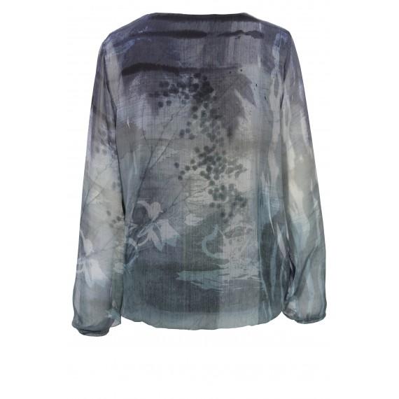 Luftige Bluse mit zartem Natur-Muster /