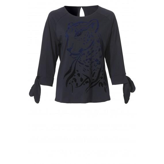 Süßes Blusen-Shirt mit samtigem Motiv /
