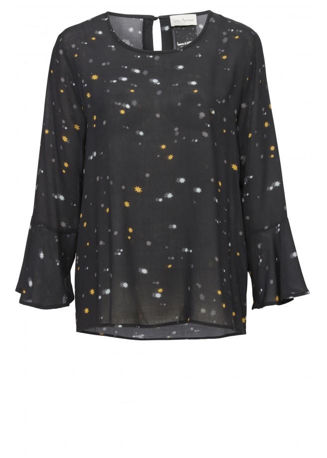 Gepunktete Bluse mit ausgestellten Ärmeln /