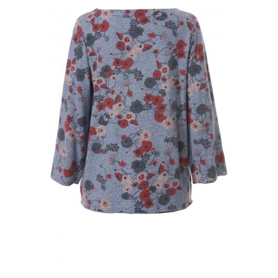 Romantischer Pullover mit floralem Print /