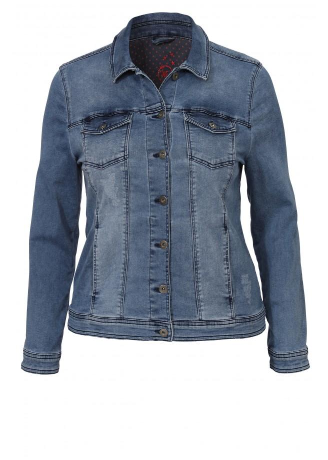 Lässige Jeans-Jacke im Used-Look /
