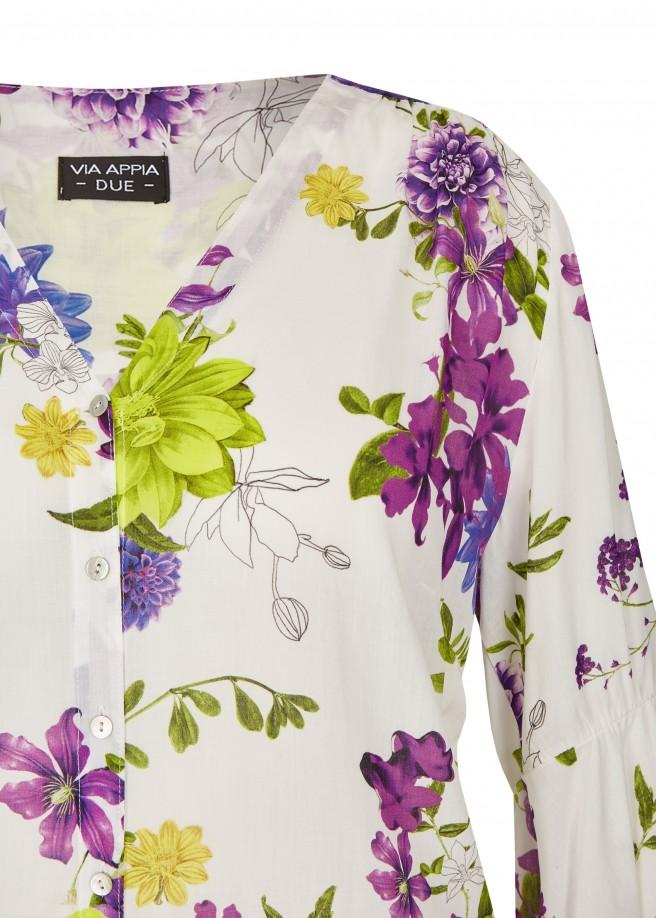 Romantische Bluse mit Printblüten /