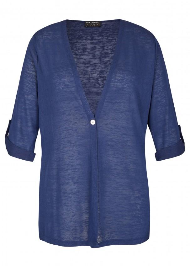 90078d32bd86ce Modische Strick-Jacke mit 1-Knopf-Verschluss blau Frontansicht blau  Rückansicht