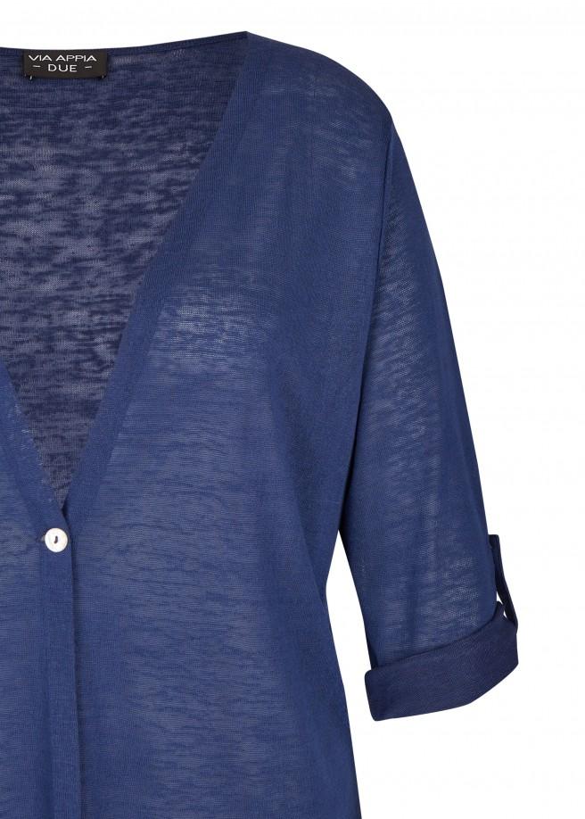 Modische Strick-Jacke mit 1-Knopf-Verschluss /