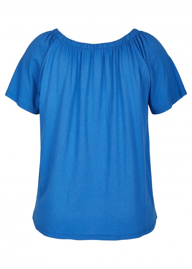 Luftiges Shirt mit elastischem Ausschnitt /
