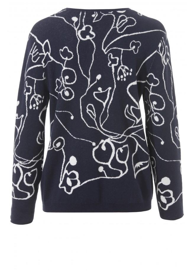 Süßer Jacquard-Pullover mit floralem Muster /