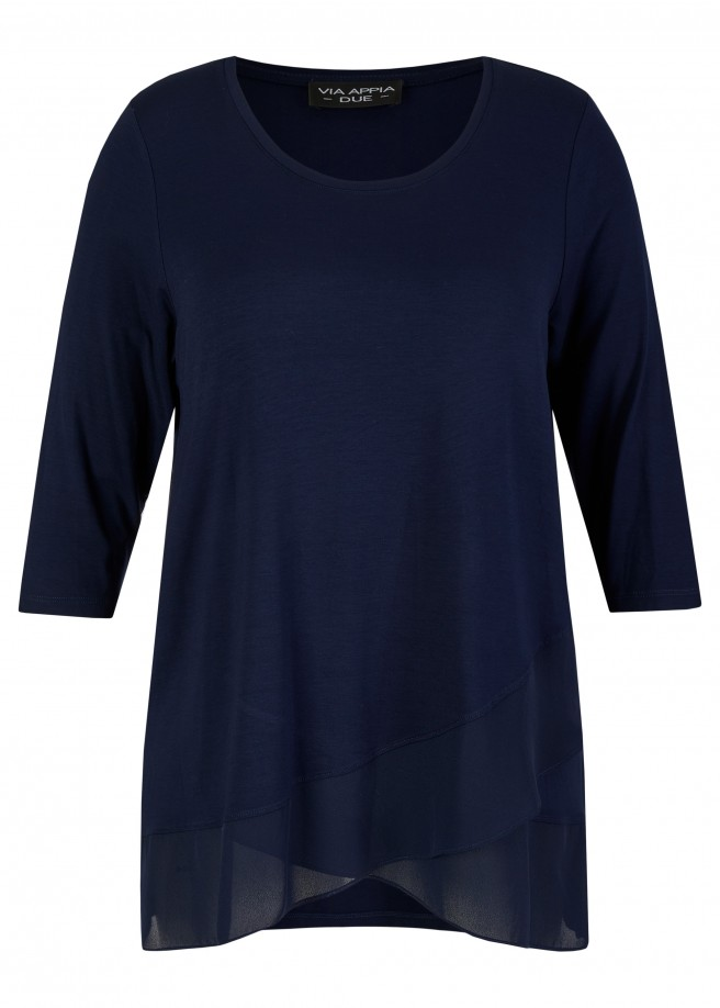 3/4-Arm Long-Shirt mit zarten Volants /