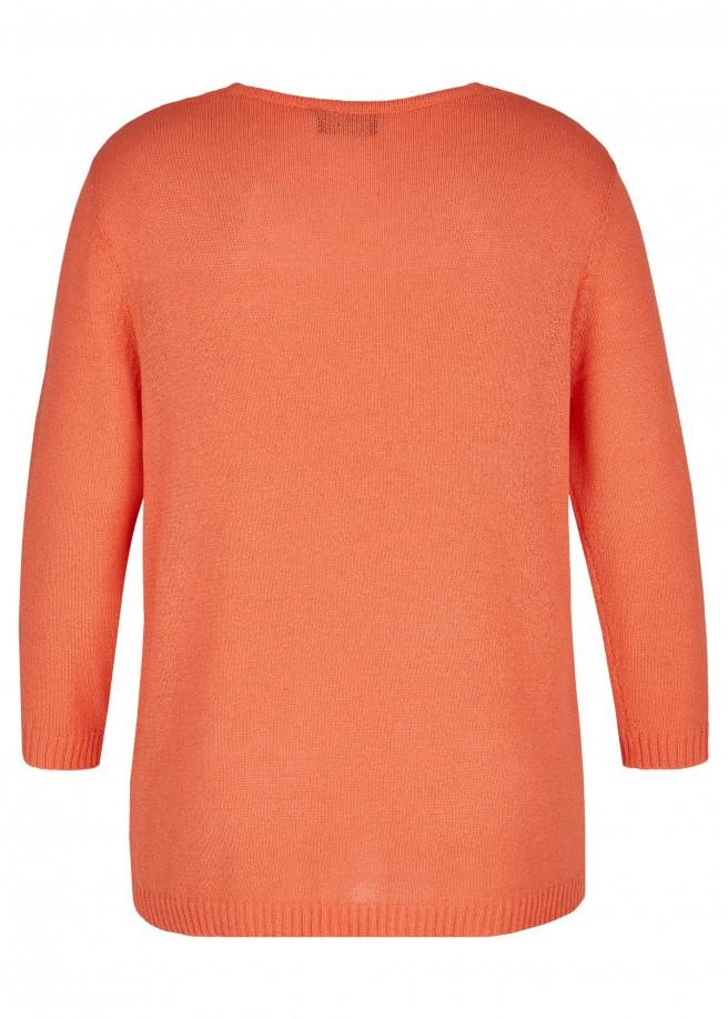 Zeitloser V-Pullover mit unifarbenem Strick-Muster /
