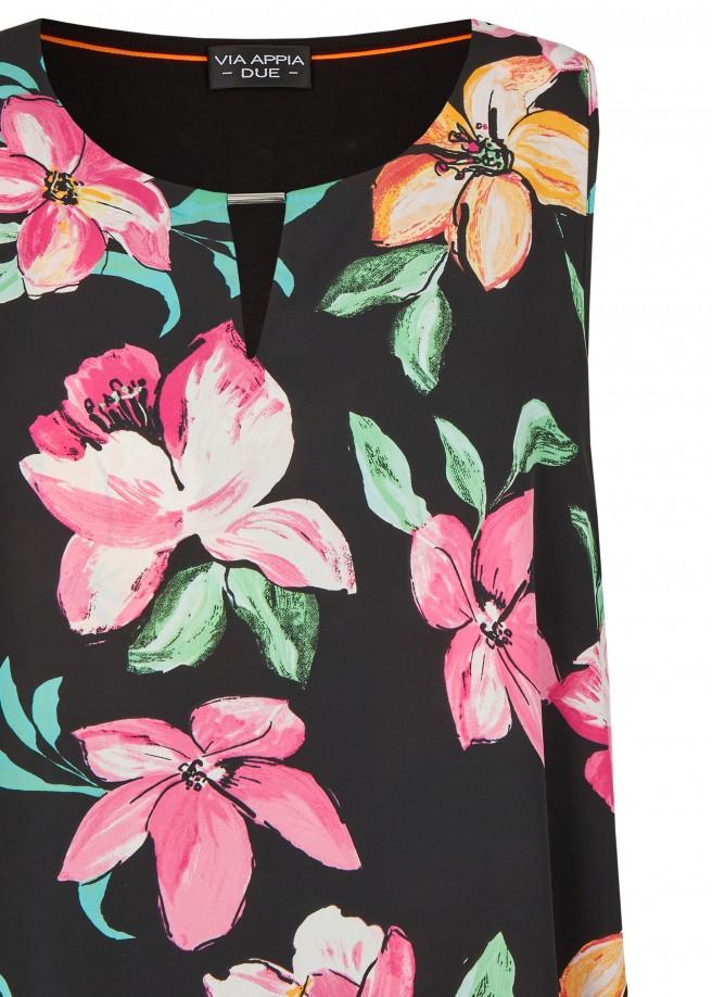 Ärmellose Bluse mit Allover-Blumen-Print /