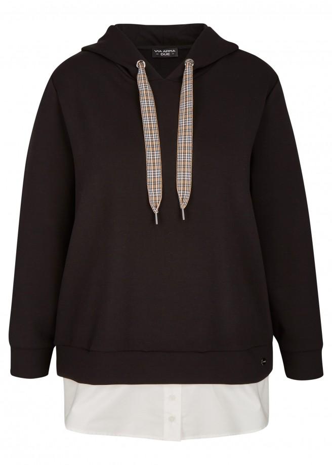 Sportives Kapuzensweatshirt mit angeknöpften Blusensaum /