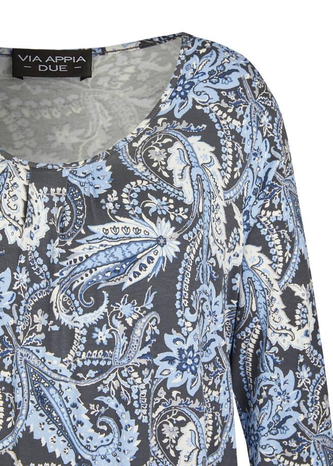 Verspieltes 3/4-Arm-Shirt mit floralem Muster /