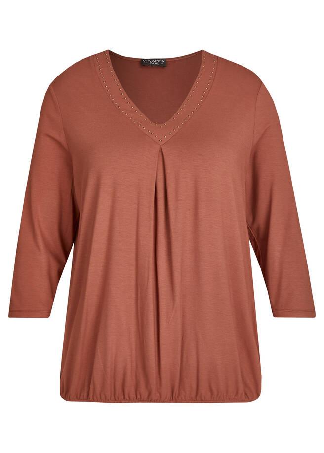 Edles 3/4-Arm-Shirt mit unifarbenem Stoff /