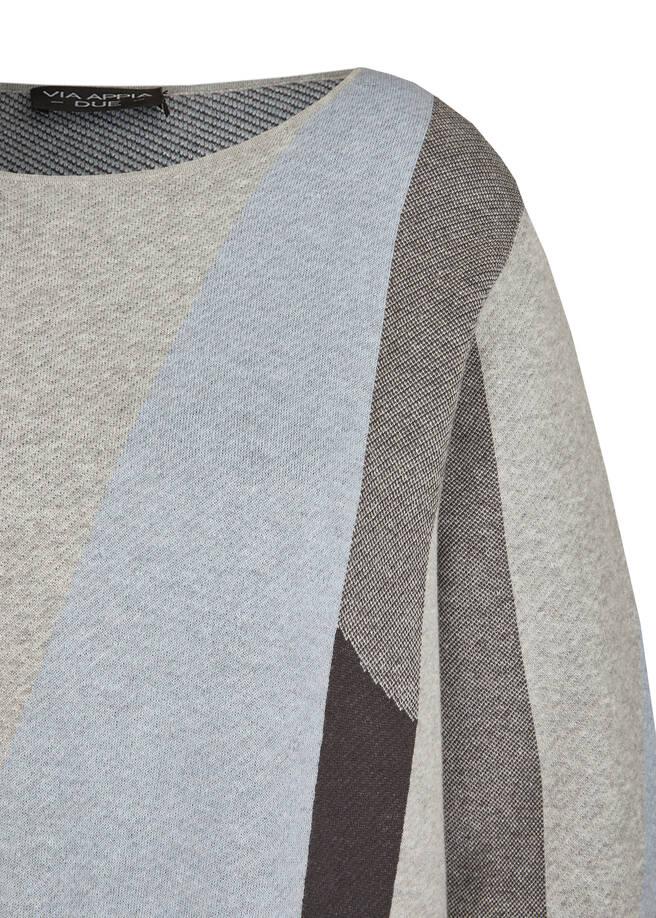 Moderner Rundhalspullover mit grafischem Muster /