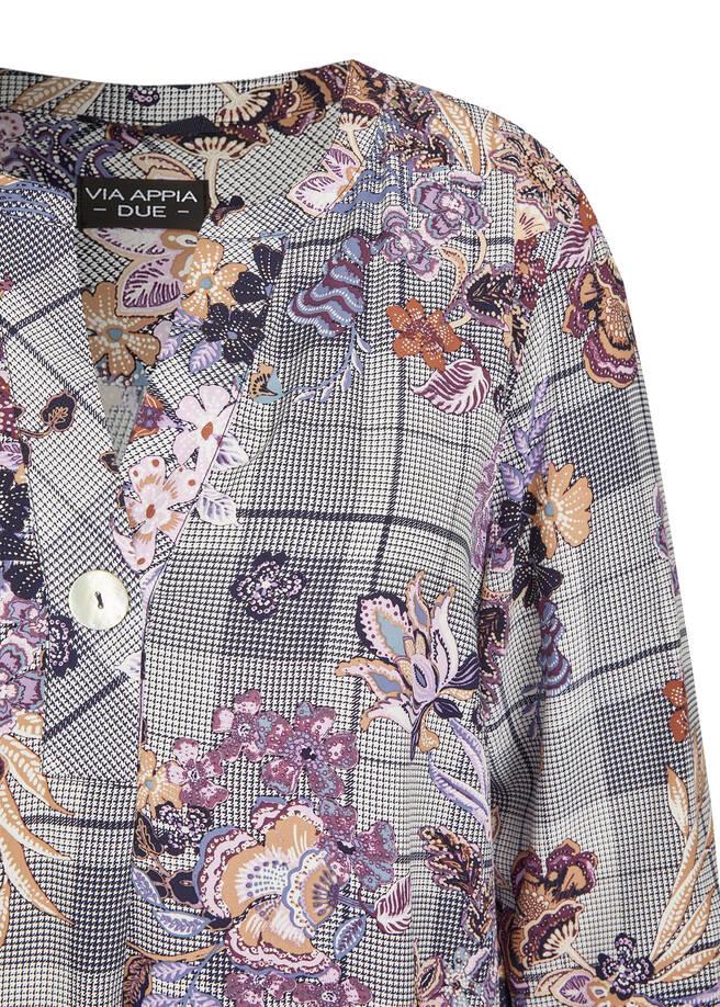 Extravagante Schlupfbluse mit floralem Muster /