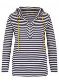 Geringeltes Kapuzen-Sweatshirt mit kontrastfarbigen Bändern /