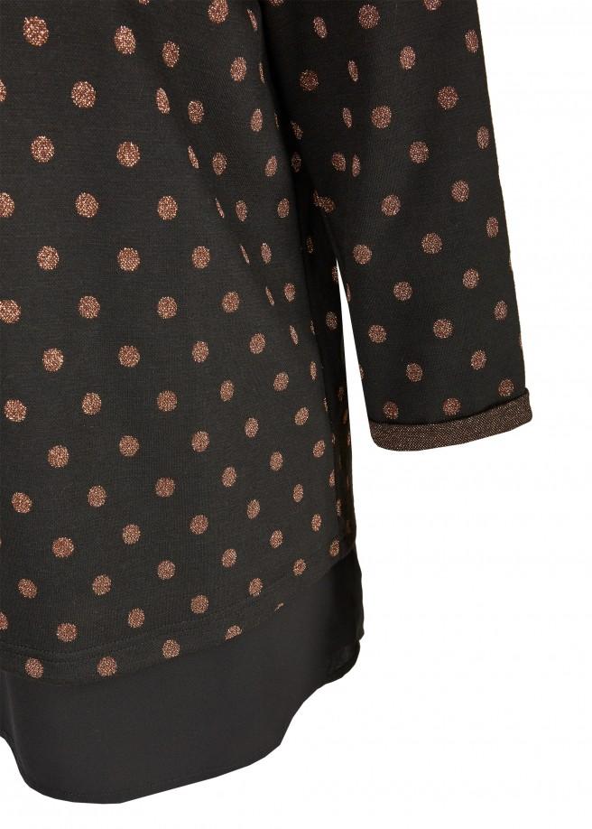 Gepunktetes 3/4-Arm-Sweatshirt mit Blusensaum /