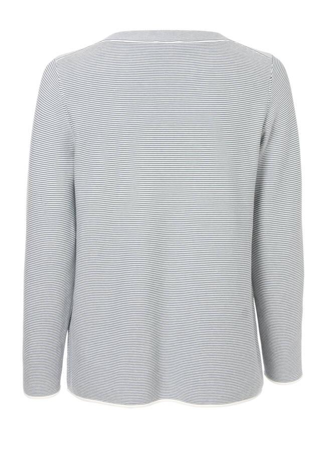 Sportiver Streifenpullover mit geringeltem Allover-Muster /