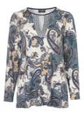 Romantisches Rundhalsshirt mit buntem Muster /