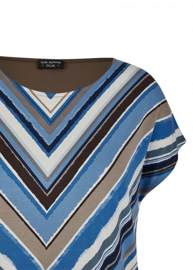 Raffiniertes Print-Shirt mit einfarbigem Rücken /
