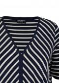 Zauberhaftes Streifen-Shirt mit offenem V und Gummizug-Saum /