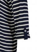 3/4-Arm Ringel-Shirt mit offenem V und Polo-Kragen /