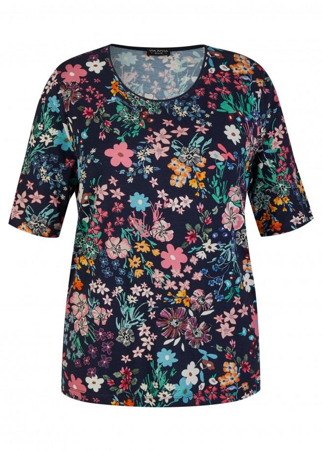 Fließendes Viskose-Jersey-Shirt mit Flower-Power /