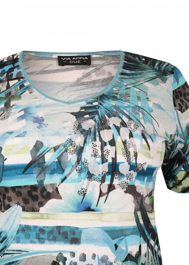Extravagantes T-Shirt mit modischem Mustermix /