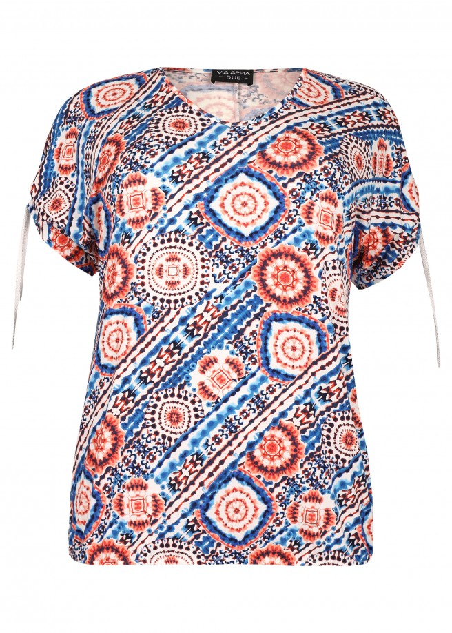 Extravagante Bluse mit Kaleidoskop-Muster /