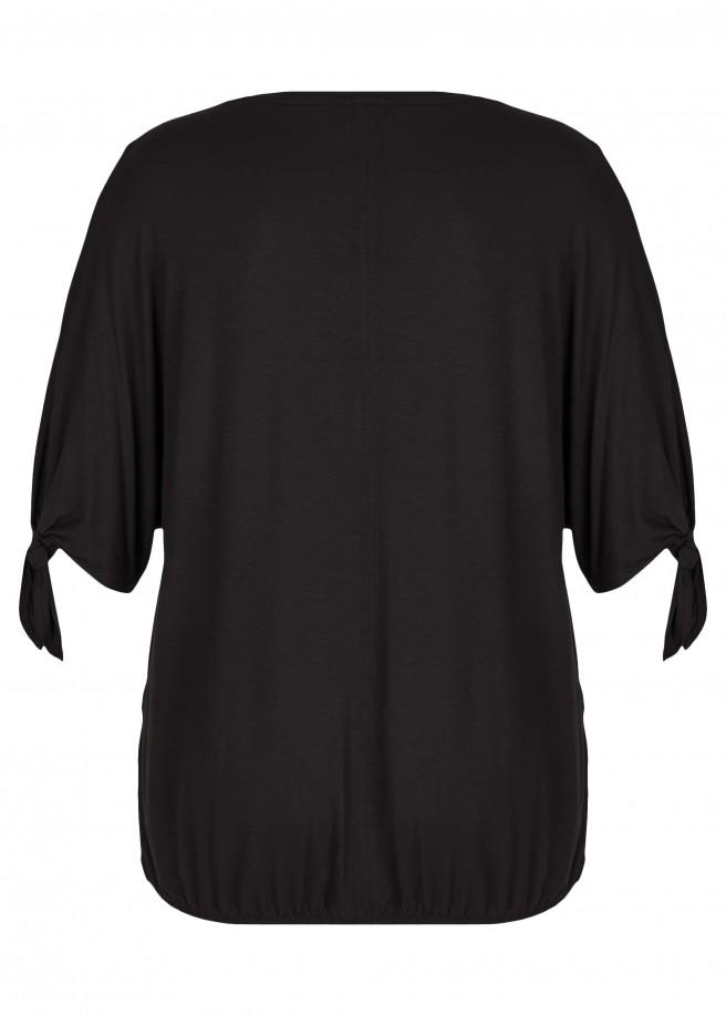Lässiges T-Shirt mit elastischem Rumpfsaum /