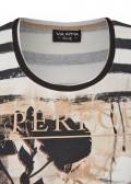 Feminines Ringelshirt mit glänzendem Front-Print /