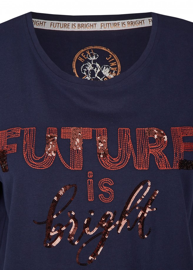 "Modisches T-Shirt ""Future is bright"" mit Pailletten /"