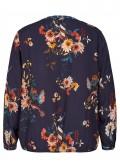 Feminine Bluse mit Blumen und Kolibris /